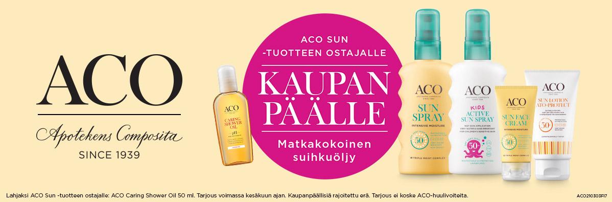 Aco sun -tuotteen ostajalle suihkuöljy kaupan päälle